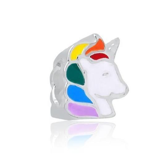 Berloque Unicornio Colorido Prata