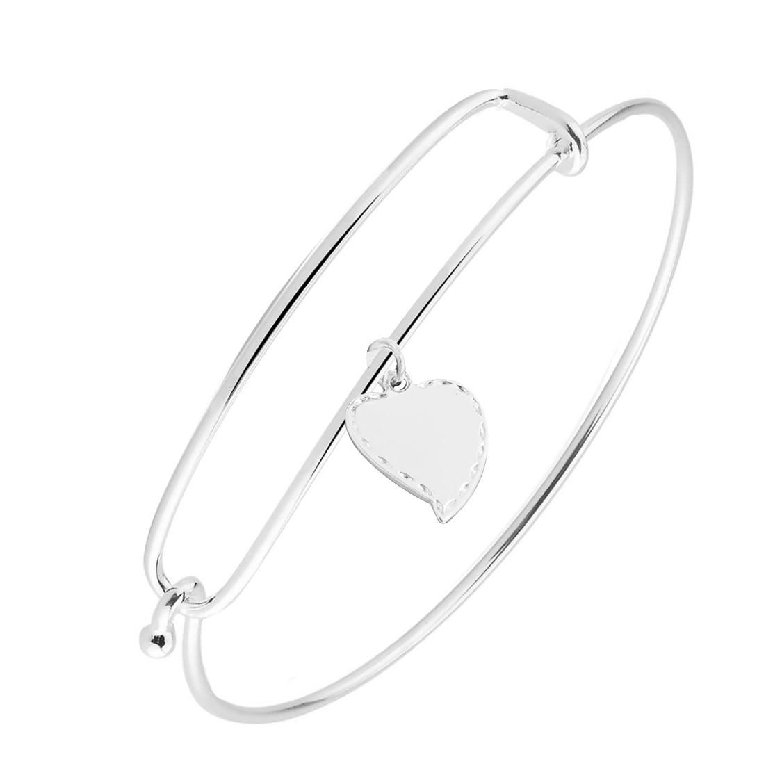 Bracelete de Prata Pingente Coração