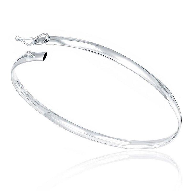 Bracelete Rigido Liso Meia Cana Prata