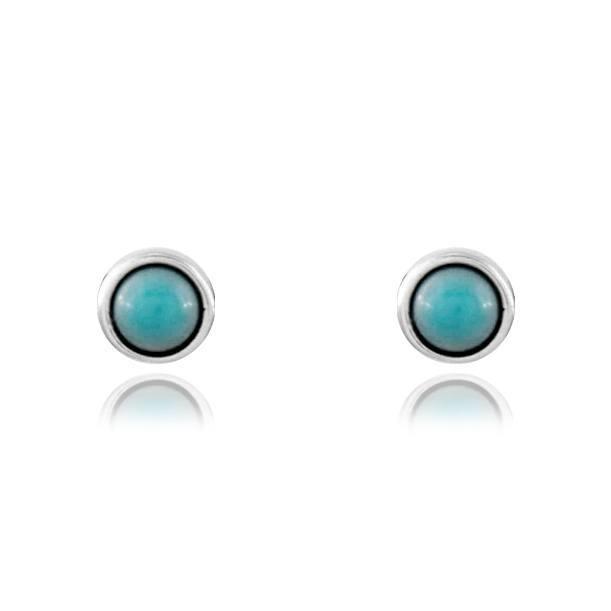Brinco de Prata Pequeno Pedra Azul Turquesa