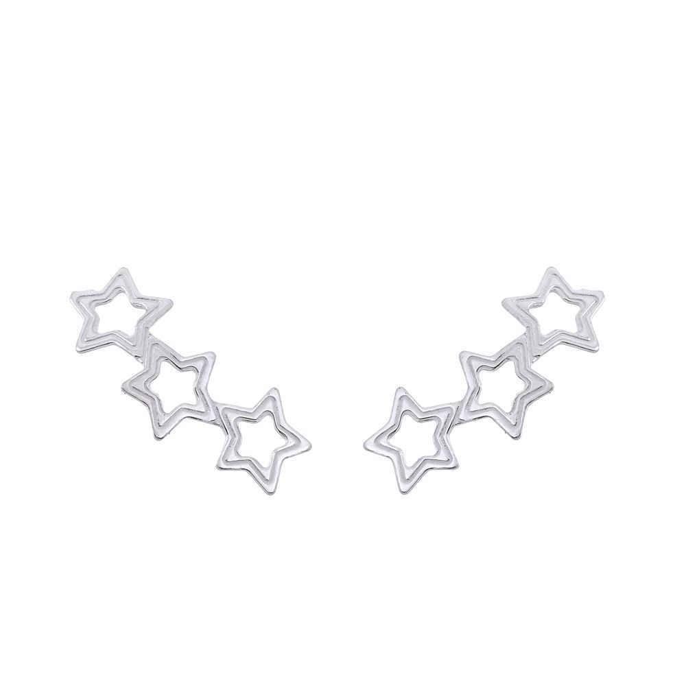Brinco Ear cuff Estrelas Vazadas Prata