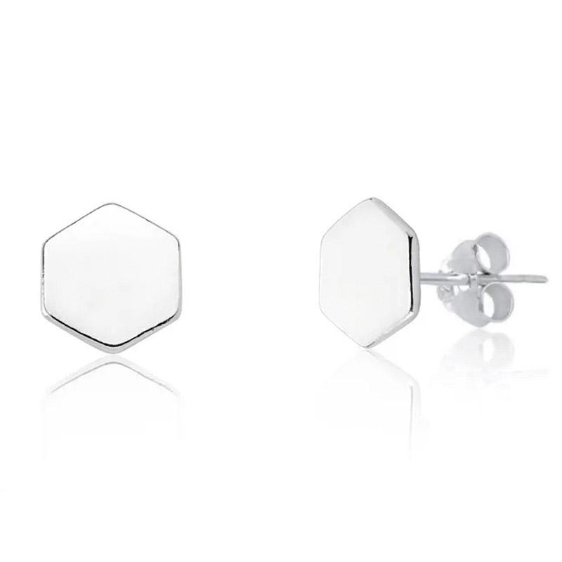Brinco Geométrico Hexágono Prata