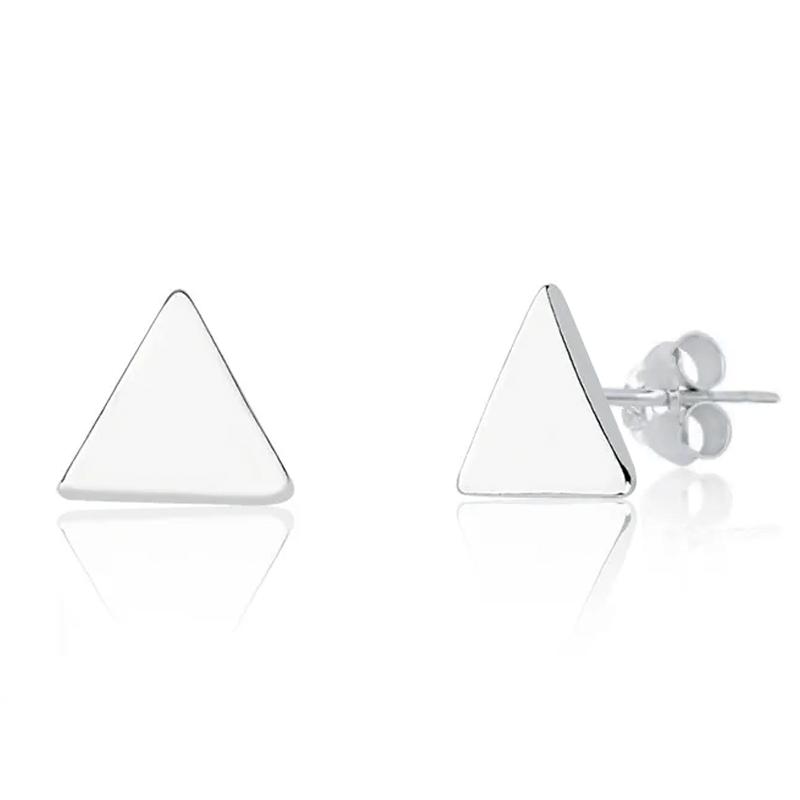 Brinco Geométrico Triângulo Prata