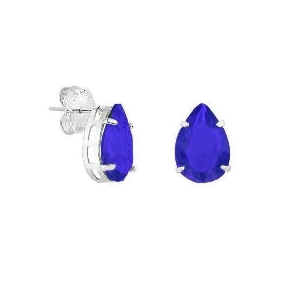 Brinco Gota Prata com Pedra Zircônia Azul Escuro