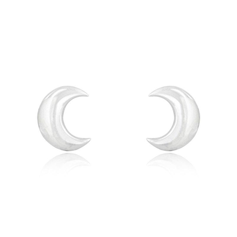 Brinco Meia Lua Prata 10 mm