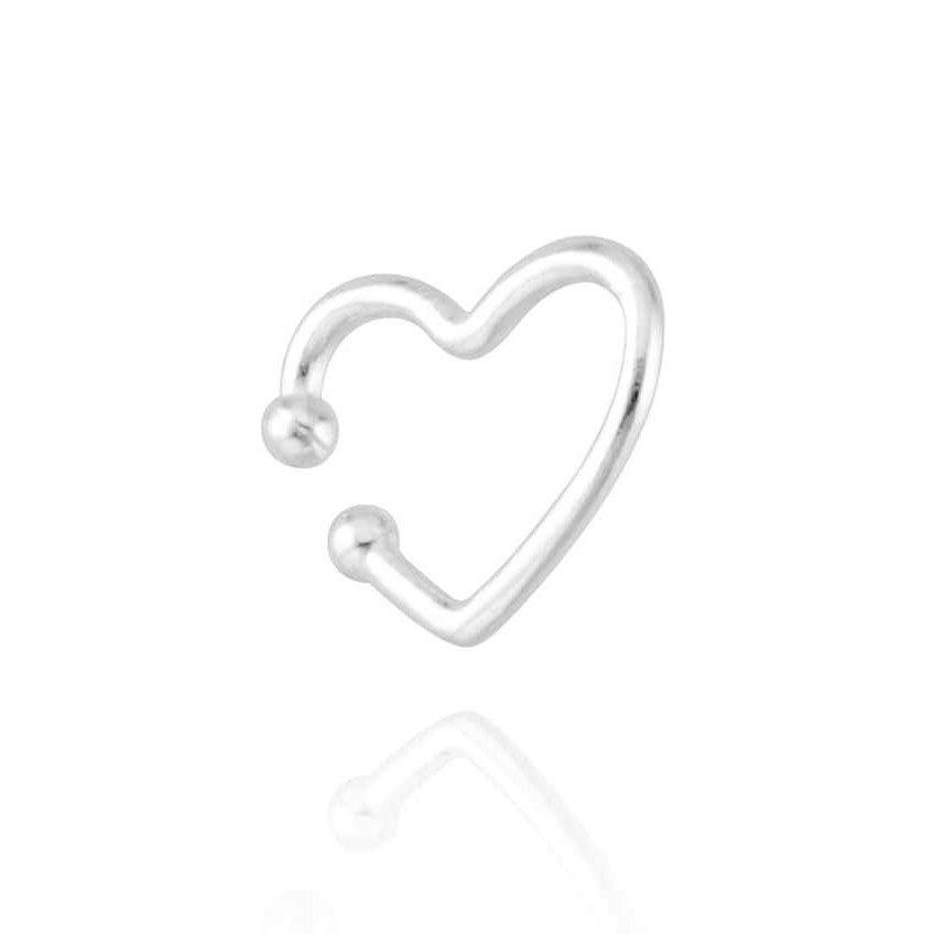 Brinco Piercing Coração Prata