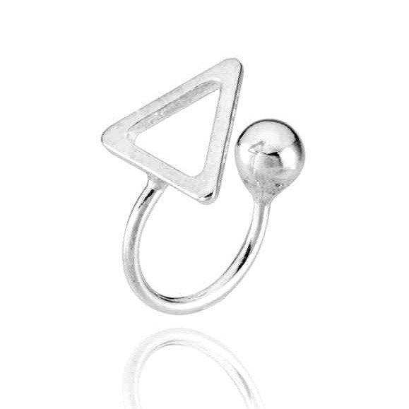 Brinco Piercing Triângulo Prata