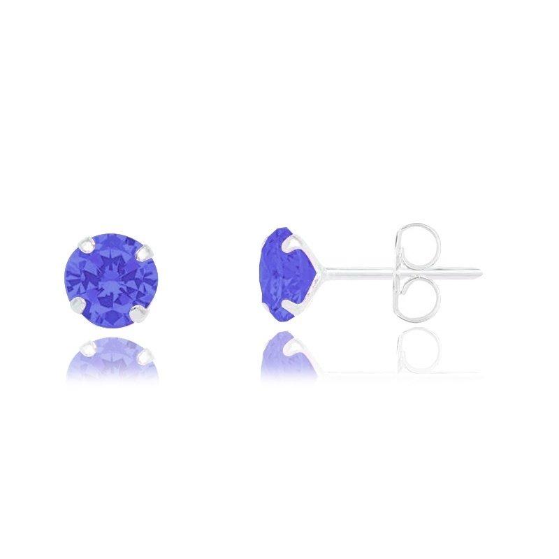 Brinco Ponto De Luz Azul 5mm