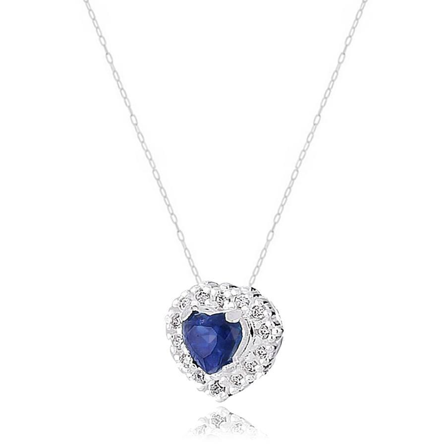 Colar Coração Cravejado Azul Safira