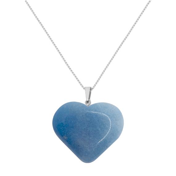 Colar Coração Quatzo Azul