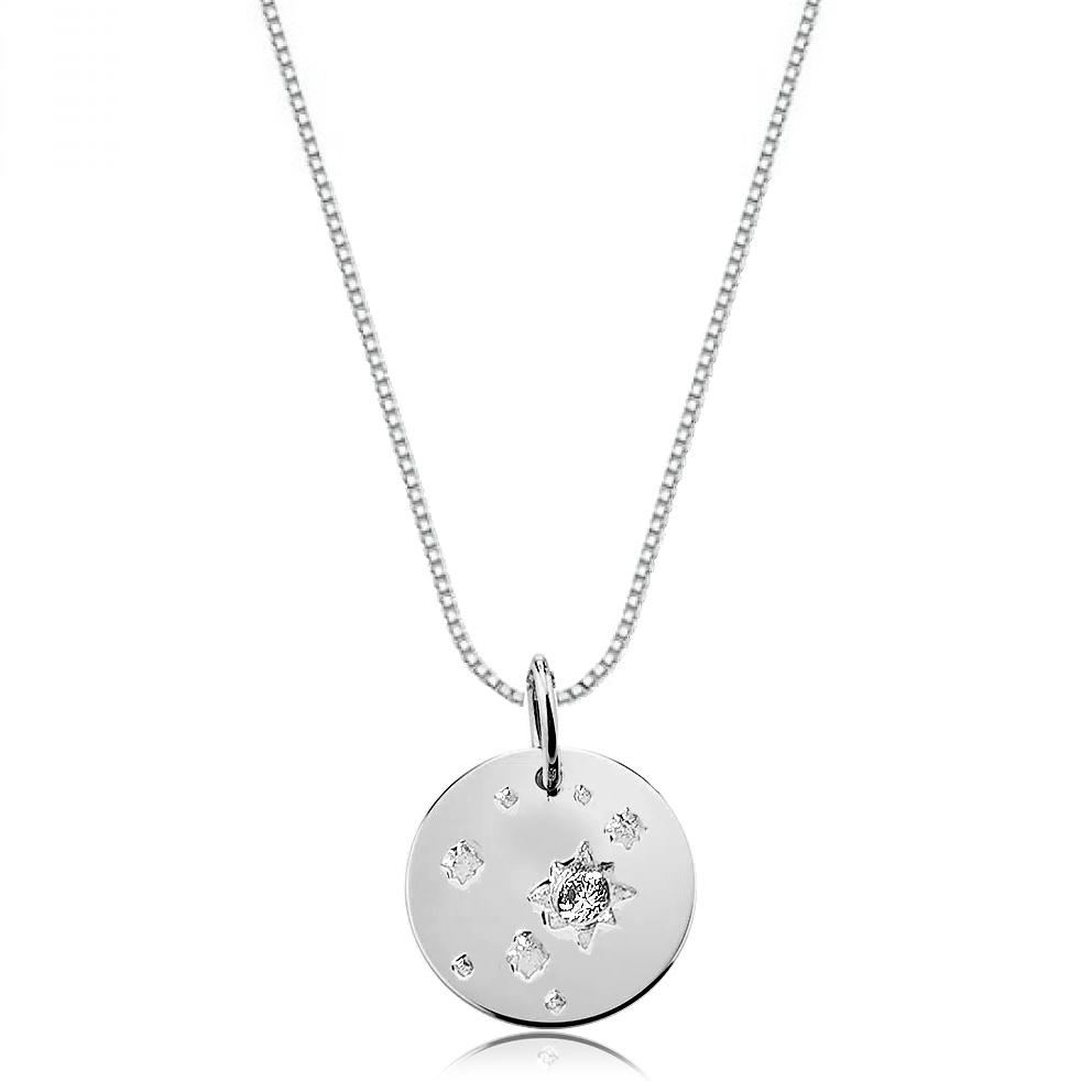 Colar de Prata Medalha com Estrelinhas e Zirconia
