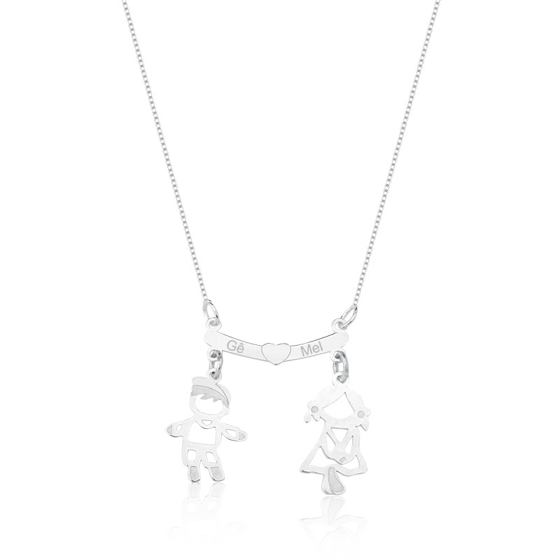 Colar de Prata Personalizado Dois Filhos (a)- Ler descrição