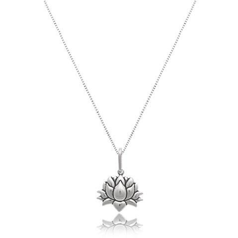 Colar Envelhecida Flor De Lotus Prata