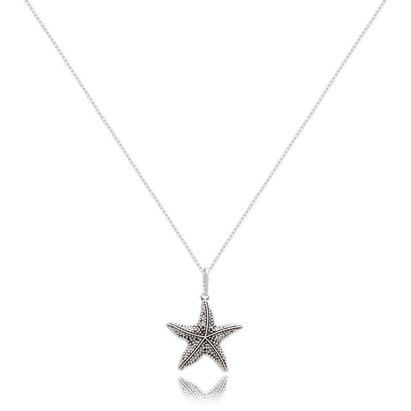 Colar Estrela do Mar Prata Envelhecida