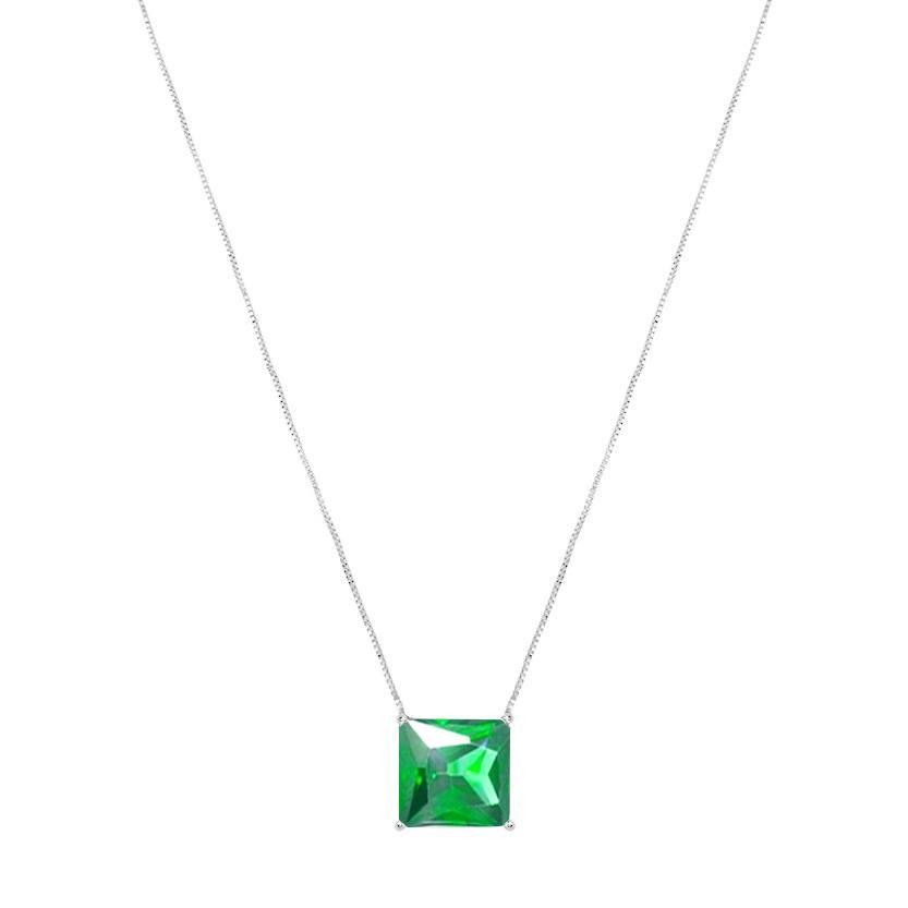 Colar Longo Quadrado Pedra  Verde