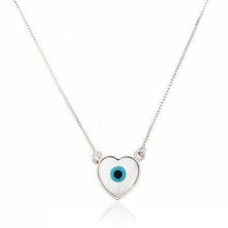 Colar Olho Grego Coração Prata