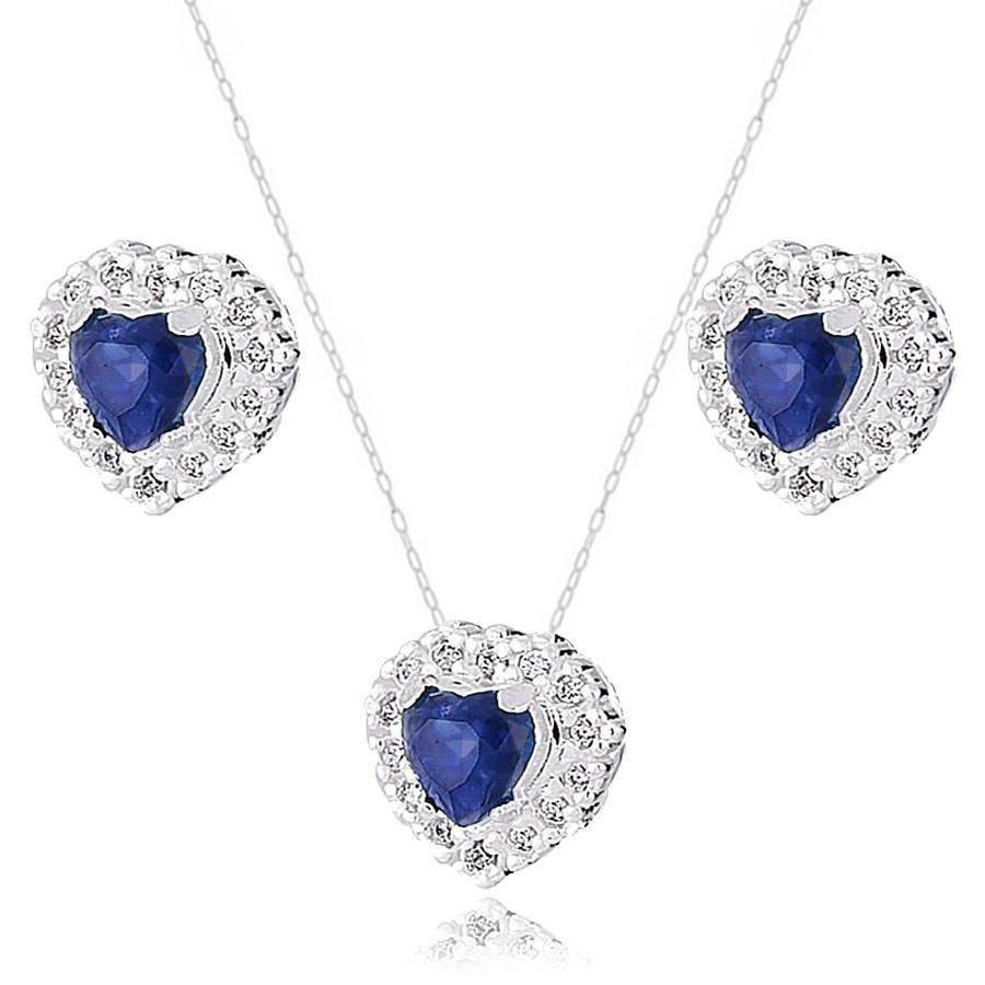 Conjunto Coração Cravejado Azul Safira