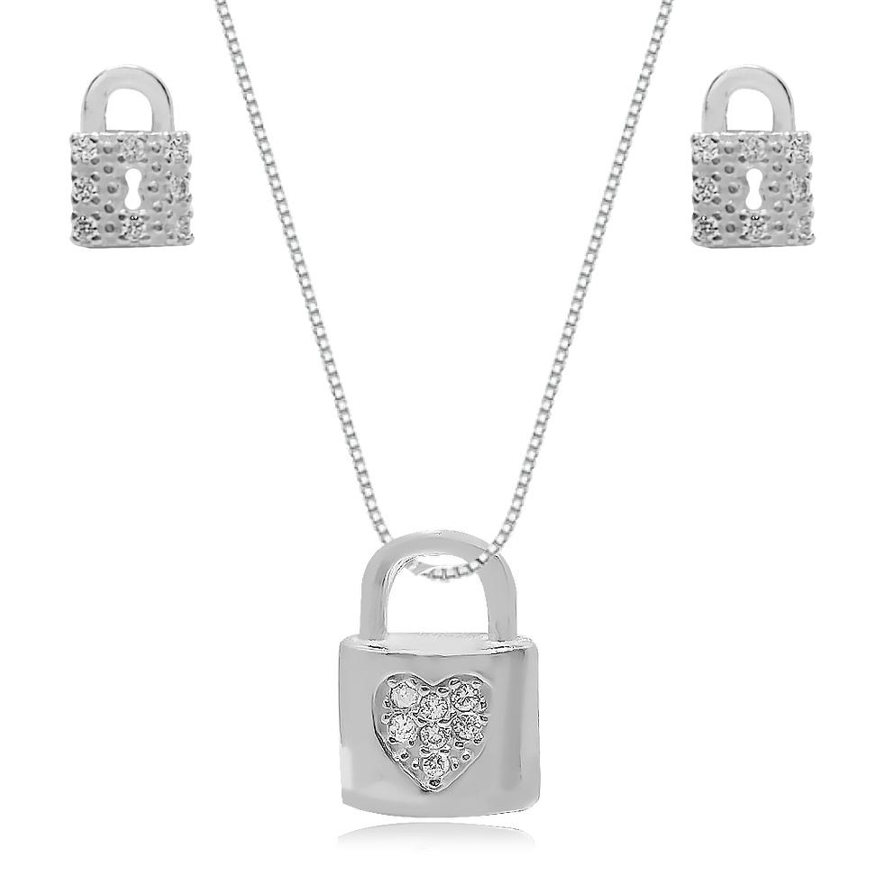 Conjunto de Prata Cadeado Cravejado