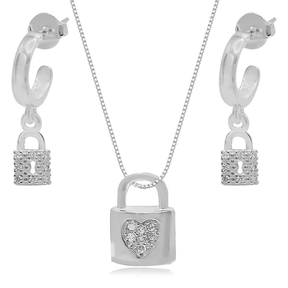 Conjunto de Prata Cadeado Cravejado Argola