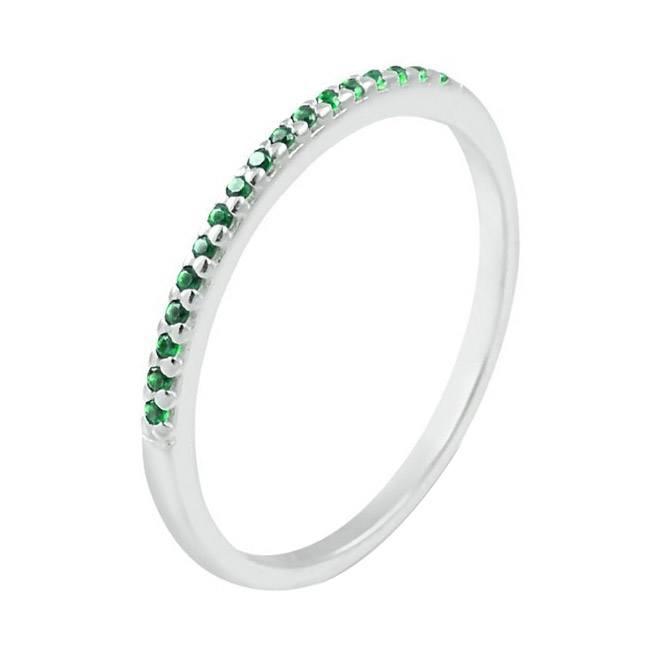 Meia Aliança Cravejada Verde Esmeralda