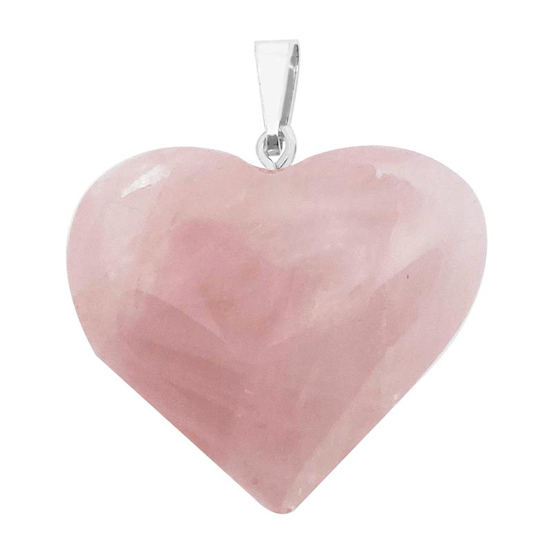 Pingente Coração Quatzo Rosa
