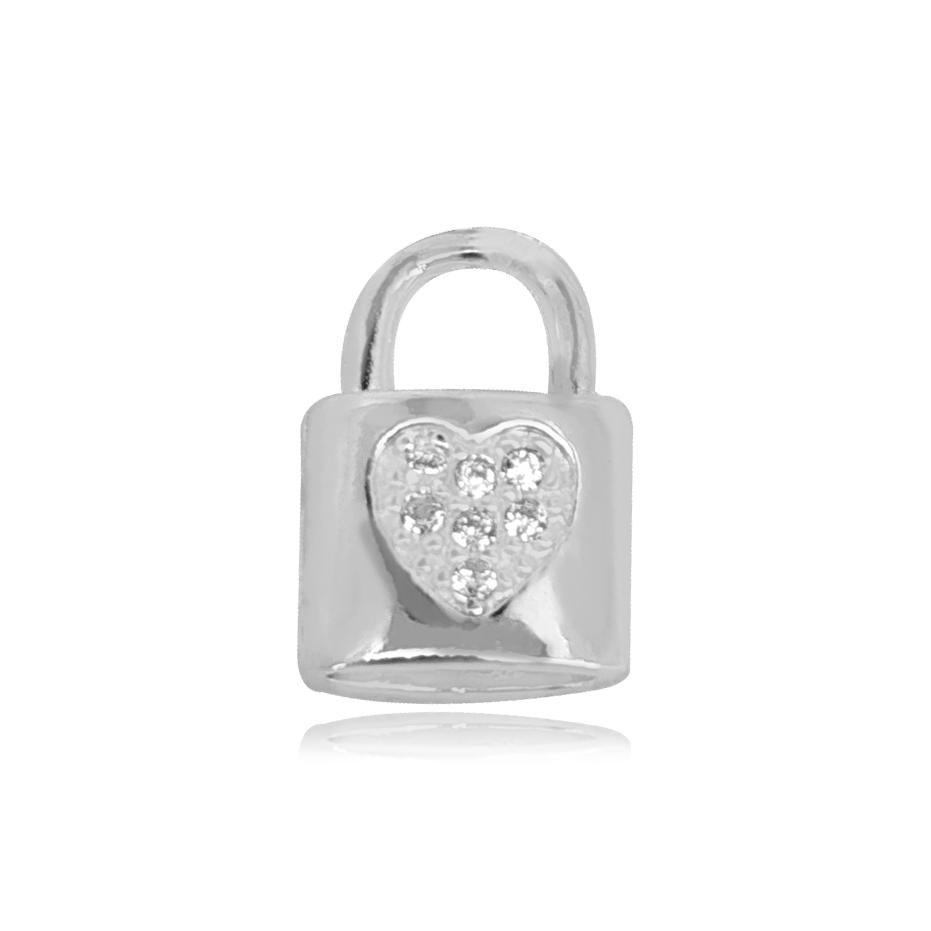 Pingente de Prata Cadeado com Coração Cravejado