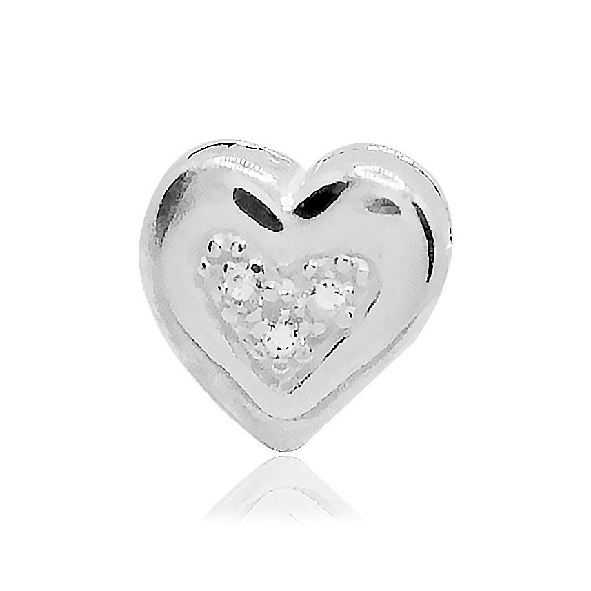 Pingente de Prata Coração Caixa  Cravejado G