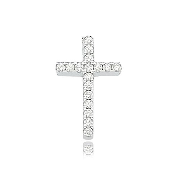 Pingente de Prata Crucifixo Cravejado