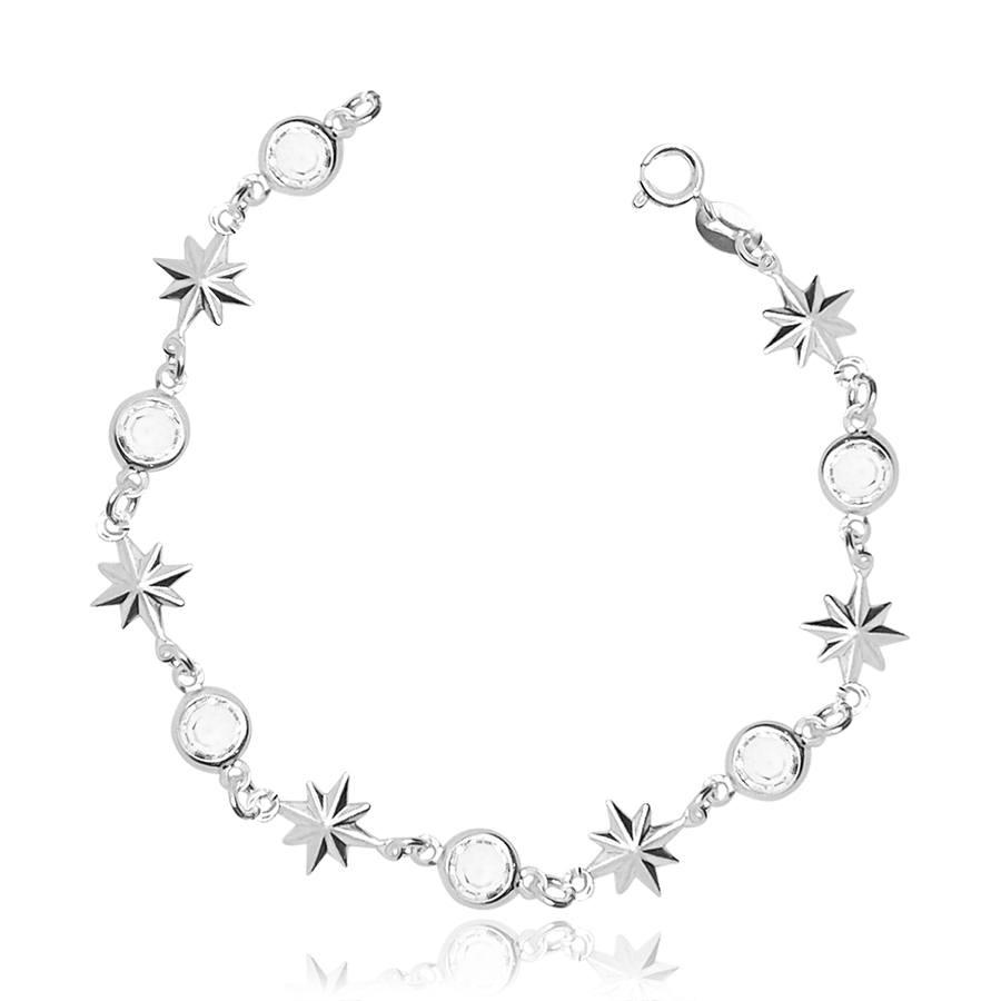 Pulseira de Prata Estrelas e Zirconias