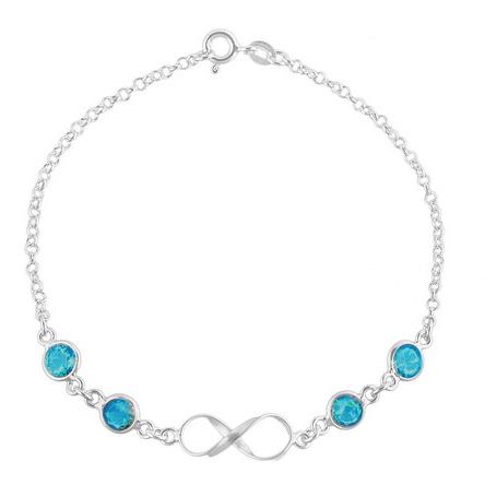 Pulseira de Prata Infinito Zirconia Azul