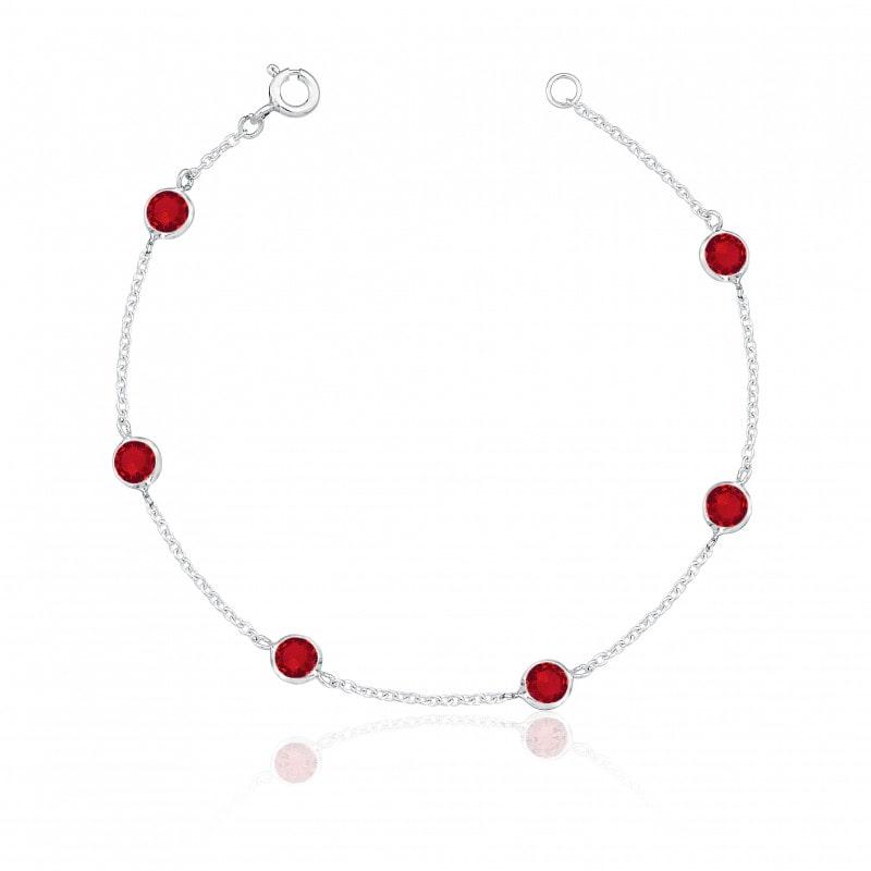 Pulseira de Prata Seis Zirconias Vermelhas