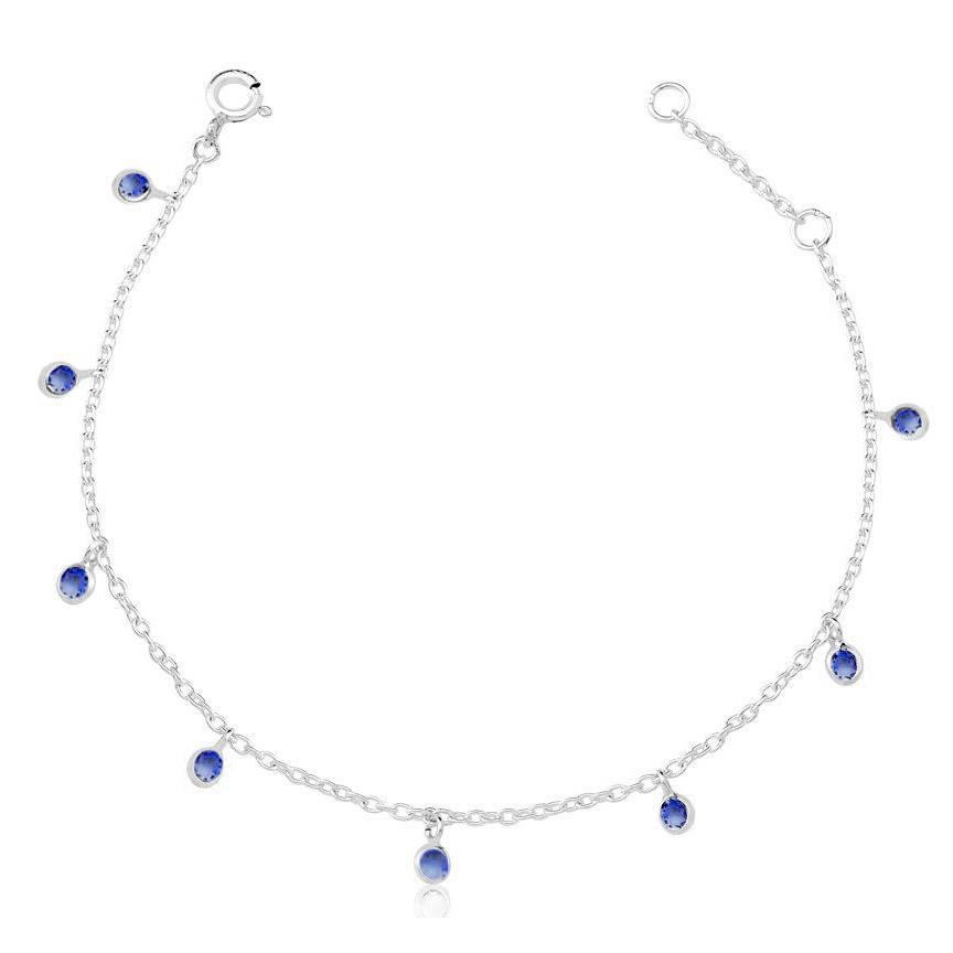 Pulseira de Prata Zirconias Penduradas Azul