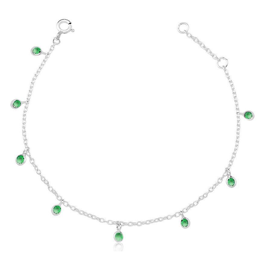 Pulseira de Prata Zirconias Penduradas Verde