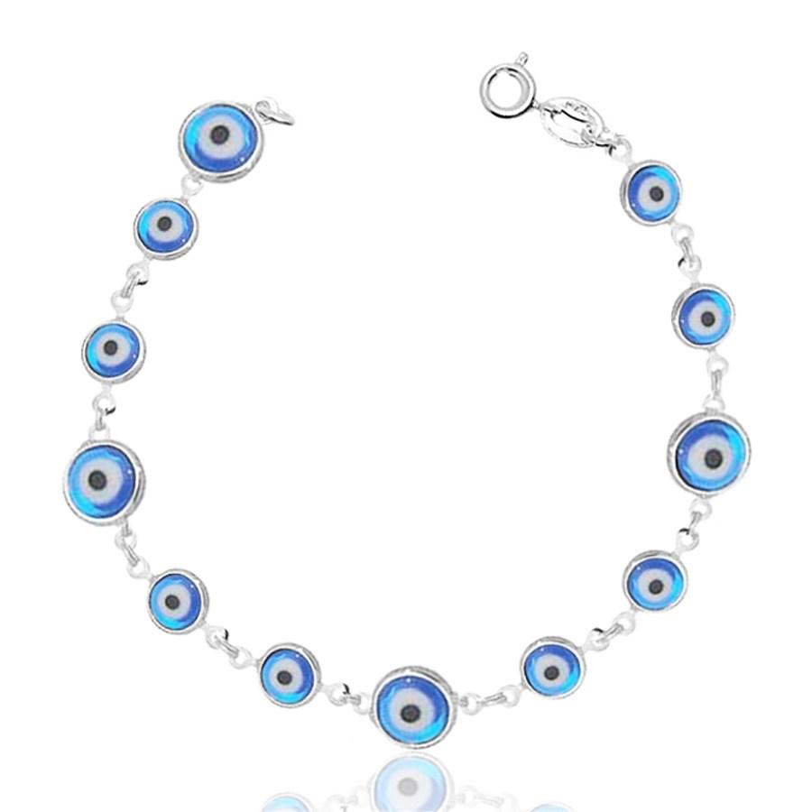Pulseira Olho Grego Azul Claro Prata