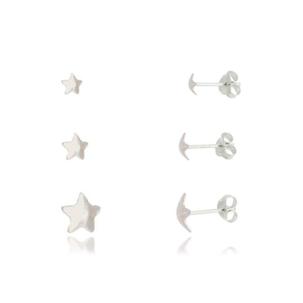 Trio de Brincos Estrelas Prata
