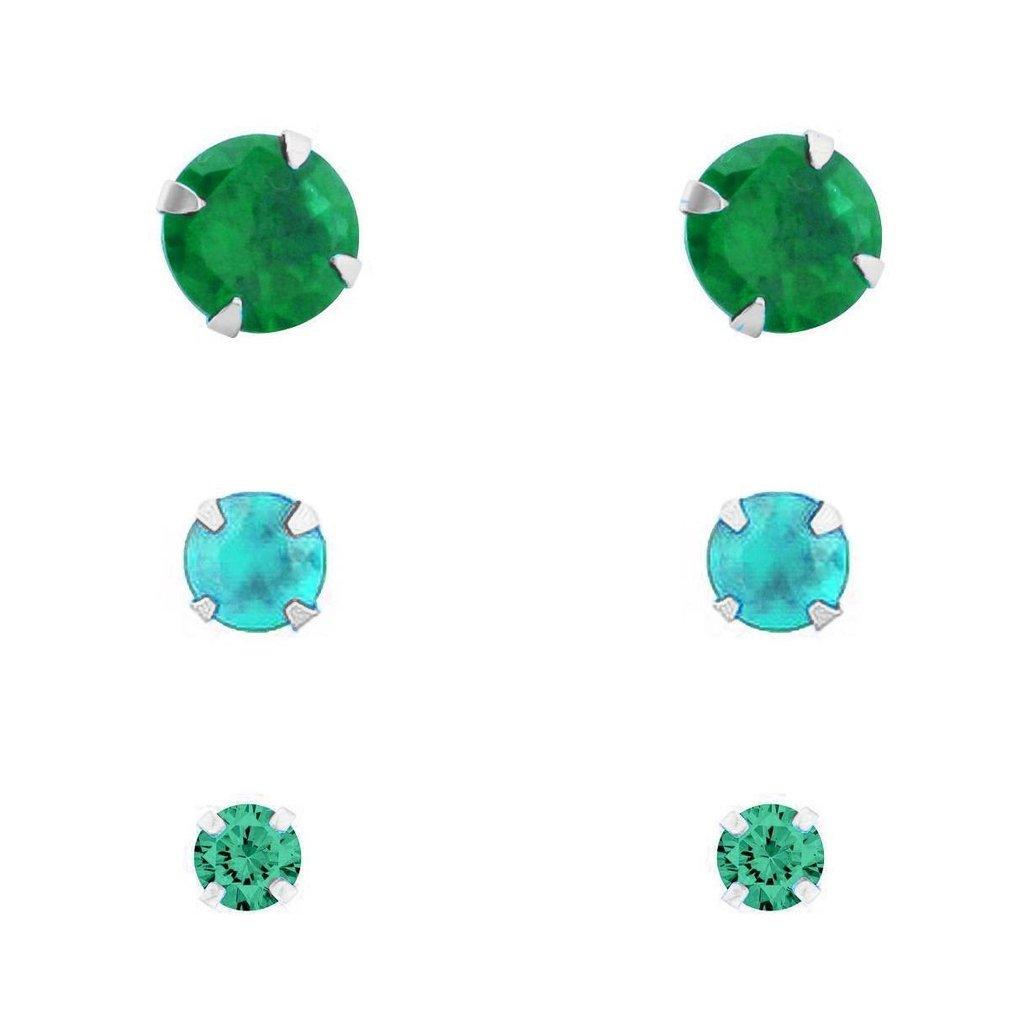 Trio De Brincos Ponto de Luz Verde Prata