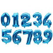 Balão Metalizado Número Azul 40cm