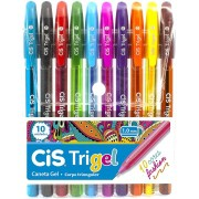 Kit c/ 10 Canetas Cis Trigel Cores Fashion