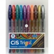Kit c/ 10 Canetas Cis Trigel Cores Metálicas