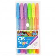 Kit c/ 6 Canetas Cis Trigel Cores Pastel