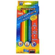 Lápis de Cor 12 Cores Triangular Tris Mega Soft