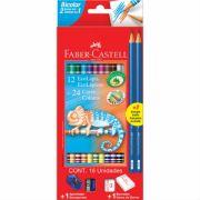 Lápis de Cor Ecolápis Bicolor 12 Lápis/24 Cores + 2 Lápis Nº2 Faber-Castell