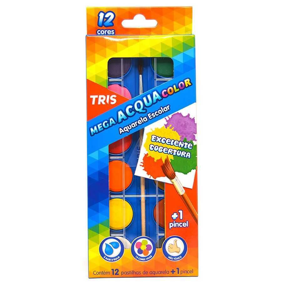 Aquarela Escolar TRIS Mega Acqua Color 12 Cores