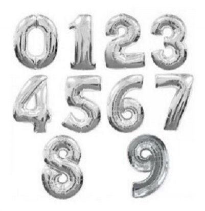 Balão Metalizado Número Prateado 40cm/70cm