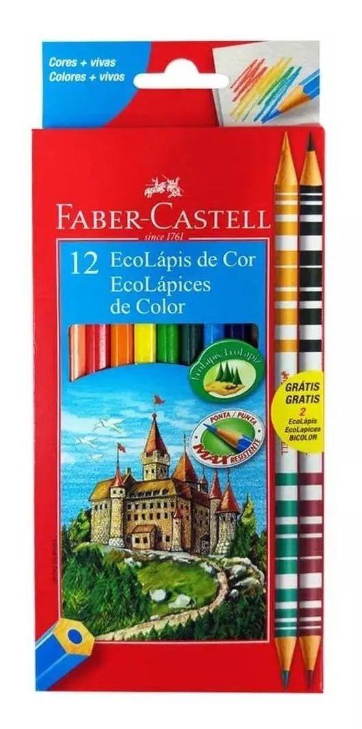 Ecolápis de Cor 12 Cores + 2 Ecolápis Bicolor Faber-Castell