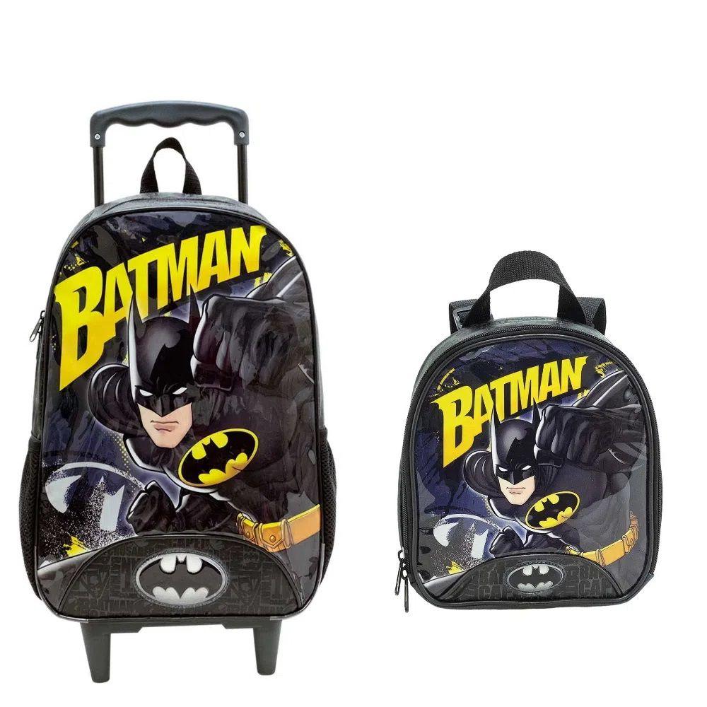 Kit Bolsa de Carrinho e Lancheira Batman