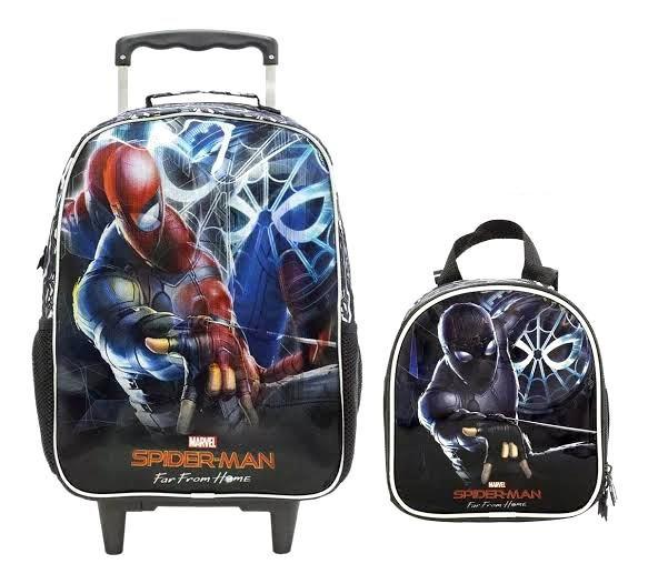 Kit Bolsa de Carrinho e Lancheira Homem Aranha Spider Man Far From Home