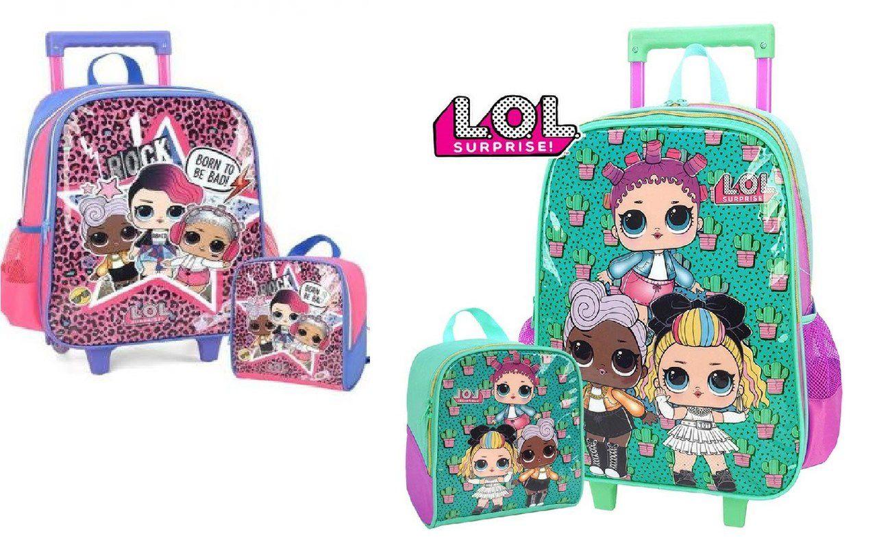 Kit Bolsa de carrinho e Lancheira Lol Surprise Verde/Rosa