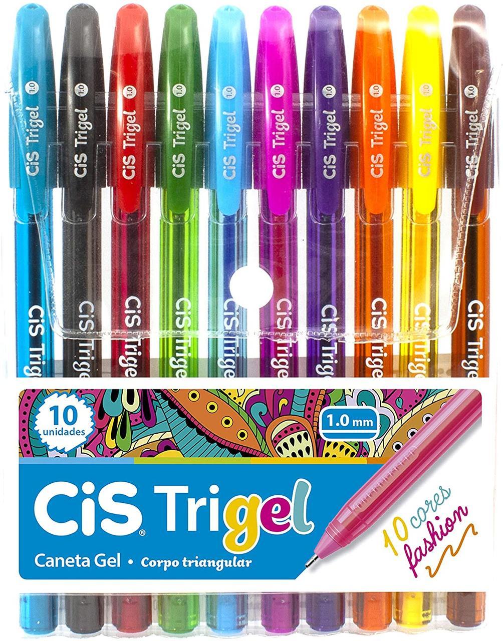 Kit c/ 10 Canetas Cis Trigel Cores Fashion