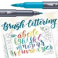 Kit c/ 12 Cores Brush Pen Letter Duo Ponta Dupla Staedtler